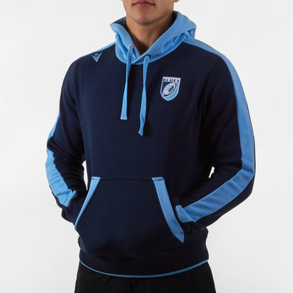 Macron Cardiff Blues 2019/20 Players Rugby Cotton Hooded Sweat
