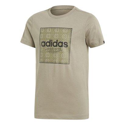 adidas Linea Texture QT T Shirt Junior Boys