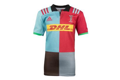 adidas Harlequins 2017/18 Niños Home M/C Réplica - Camiseta de Rugby