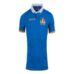 Macron Italia 2017/18 Home M/C Algodón Réplica - Camiseta de Rugby