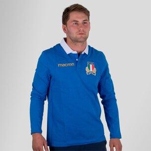 Macron Italia 2017/18 Home M/L Algodón Réplica - Camiseta de Rugby