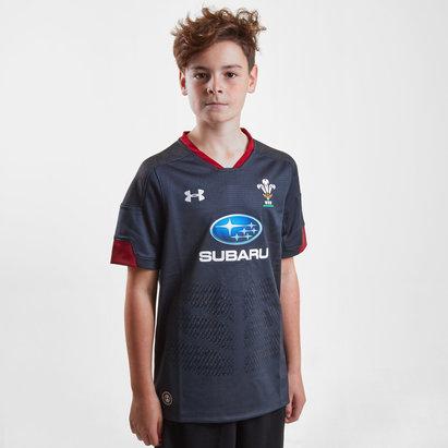 Under Armour Gales WRU 2017/18 Niños Alternativa M/C Réplica - Camiseta de Rugby
