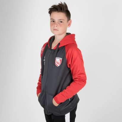 X Blades Gloucester 2018/19 Niños Full Zip Rugby - Sudadera con Capucha