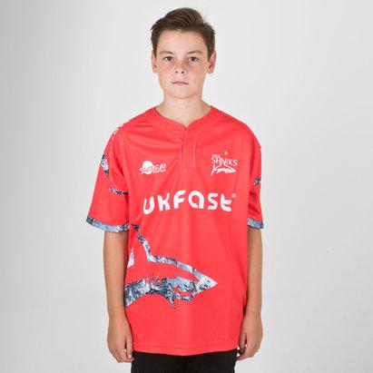 Samurai Sale Sharks 2018/19 Camiseta Replica Alternativa de Rugby para Niños