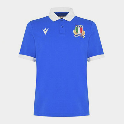 Macron Italy Rugby Polo Shirt Mens