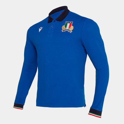 Macron Italy 2019/20 Pique L/S Cotton Polo Shirt