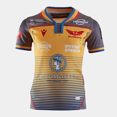 Macron Scarlets 2019/20 Kids Alternate S/S Replica Rugby Shirt