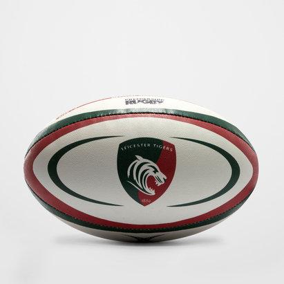 Gilbert Réplica oficial del balón de rugby del Leicester Tigers blanco/verde/rojo