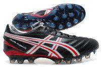 Botas de rugby Asics Lethal Flash DS FG negro/rojo vivo/blanco