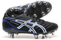 Asics Zapatos de rugby Lethal Charge SG Negros/Blancos/Azules